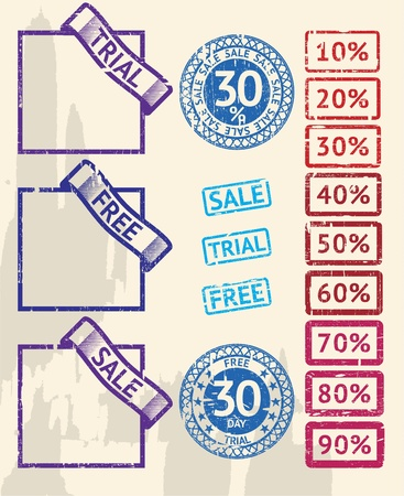Set of discount and sale stamps Vector