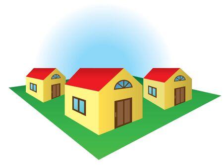 corner house: Corner house in the block Illustration