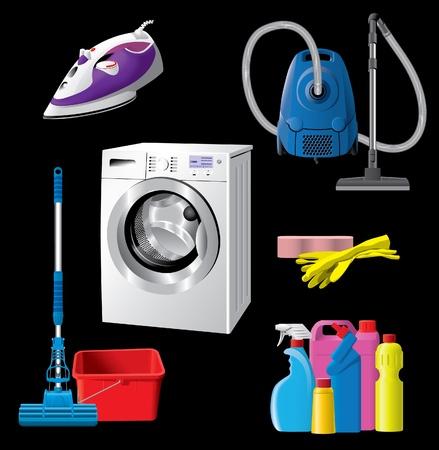 laundry washer: Conjunto de equipos de limpieza de casa
