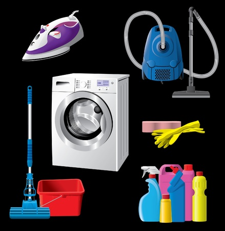 vacuuming: Set of house cleaning equipment Illustration