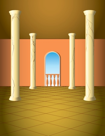 Column hall with window and a balcony Vector