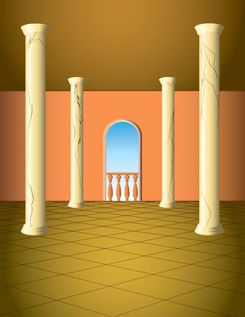 Column hall with window and a balcony Vector