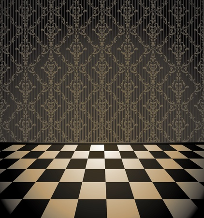 warehouse interior: Retro checkered room with wallpaper