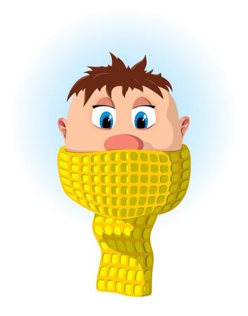 toser: Niño con tos y fría Vectores