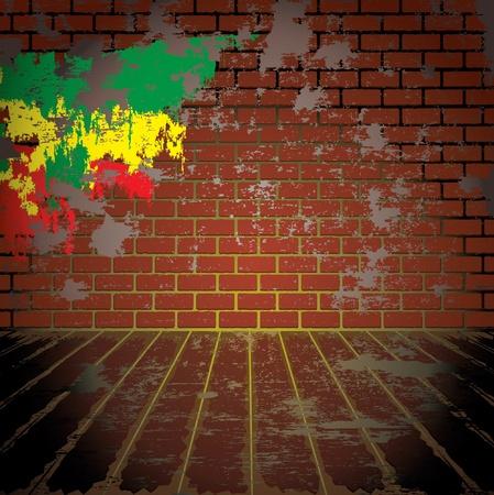 abandoned warehouse: Grunge room with brick wall Illustration
