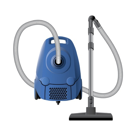 vacuuming: Blue vacuum cleaner