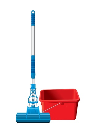 dry cleaner: Detailed mop and bucket
