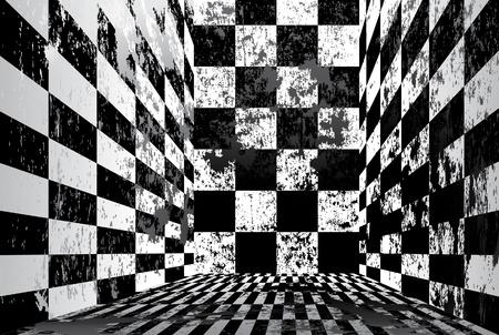 Grungy checkered room Stock Vector - 10263010