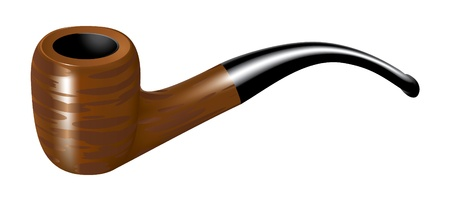 vintage cigar: Wooden smoking pipe Illustration