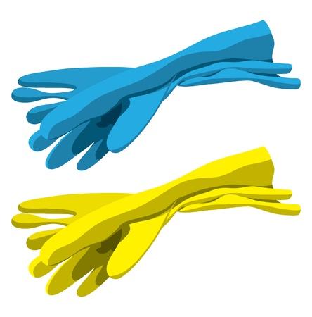 Set de gants en caoutchouc pour le nettoyage Vecteurs