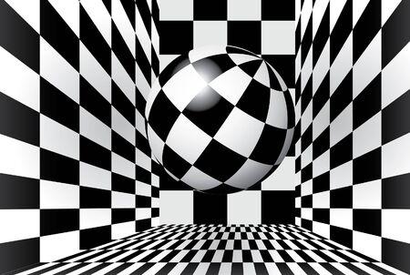 Magic ball in checkered room Vector