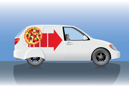 power delivery: White pizza delivery car