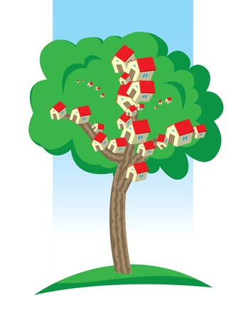 Houses is growing on the tree. Real estate concept. Stock Vector - 10263448