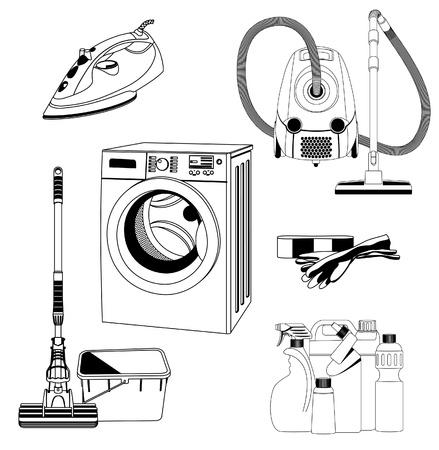 lavadora de ropa: Conjunto de herramientas de limpieza contorno Vectores