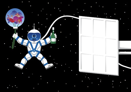 space suit: Spaceman with flowers card