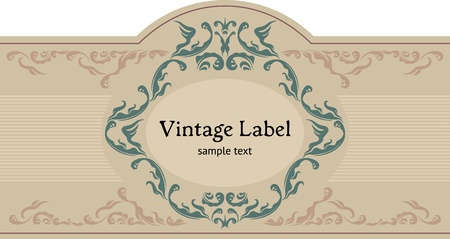 Vintage ornamental label. Datura font by Jesus Martinez Partida. Vector