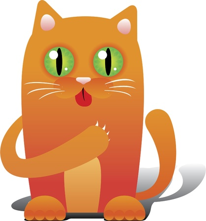 Red cat licking his paw Vector