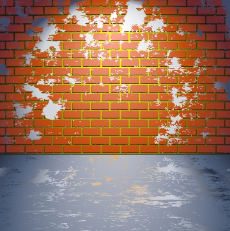 dirty room: Brick grunge wall Illustration