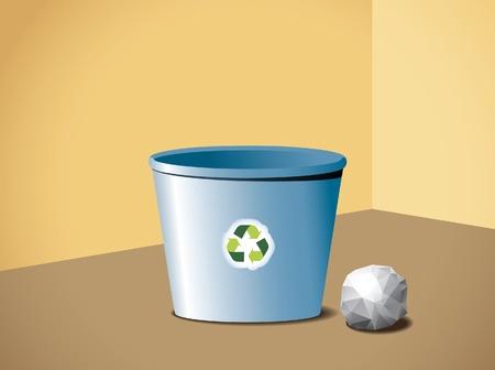 papelera de reciclaje: Papelera de reciclaje en la esquina