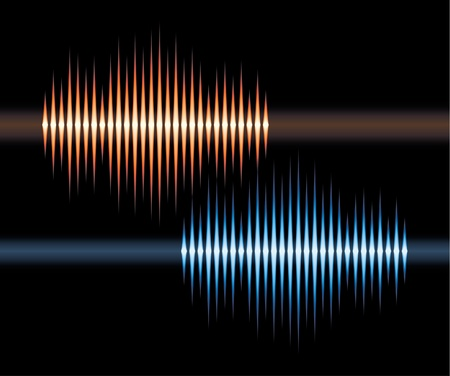 vibrations: Blue and orange stereo waveform