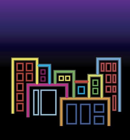 City of neon lights Stock Vector - 10295908