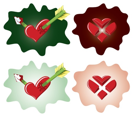 Heart shaped valentine tick and cross Vector