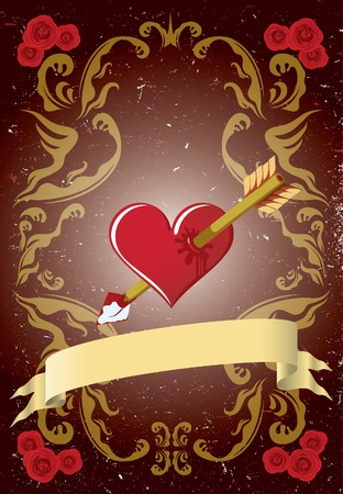beloved: Valentines day card with arrowed heart