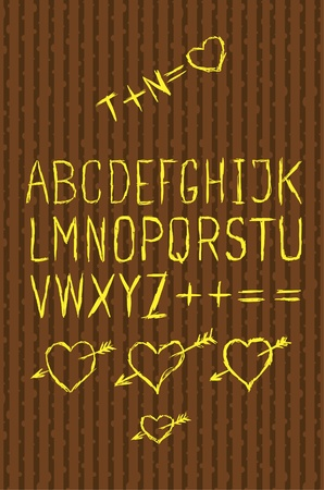 typesetting: Full alphabet cutout on bark Illustration