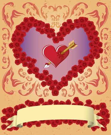 truelove: Valentine card with lots of roses, heart and a ribbon.