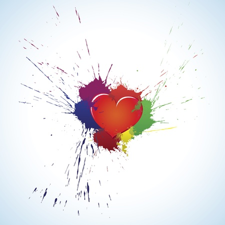 splashed: Heart in colorful ink blots