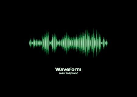 wave sound: Green waveform Illustration