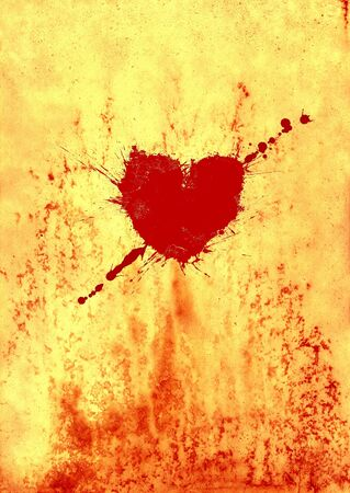 dripped: Bloody heart on old paper Stock Photo