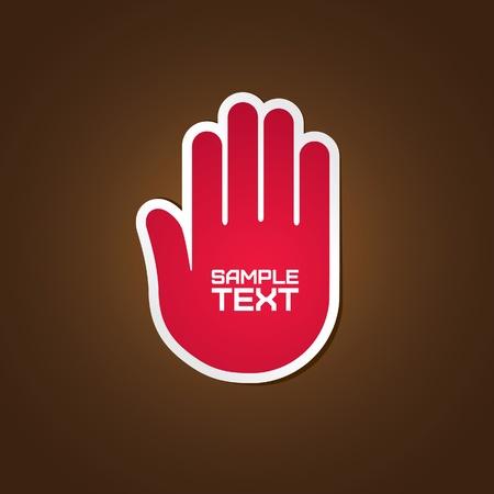 boton stop: Etiqueta de mano