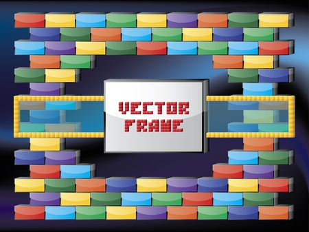 Frame with glass and bricks Stock Vector - 10492224