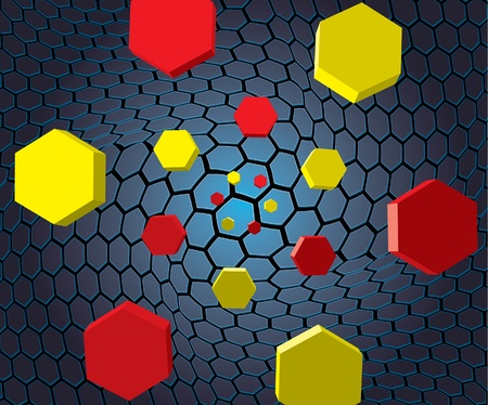 Falling hexagons Stock Vector - 10492220