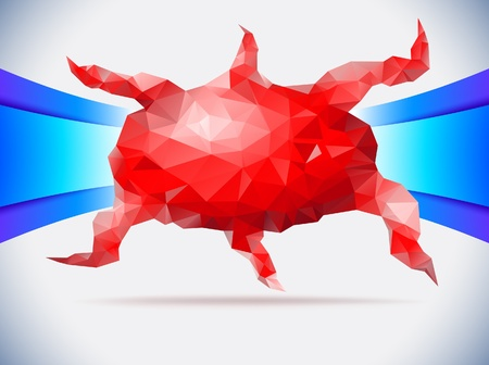 Red mosaic octopus Vector
