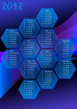 Hex cells calendar 2012 Stock Vector - 10525158