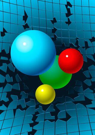 Balls over broken tiles Stock Vector - 10599059