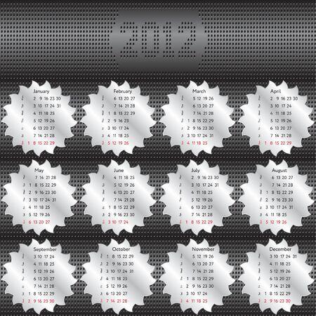 Circular saw calendar 2012 Stock Vector - 10599070