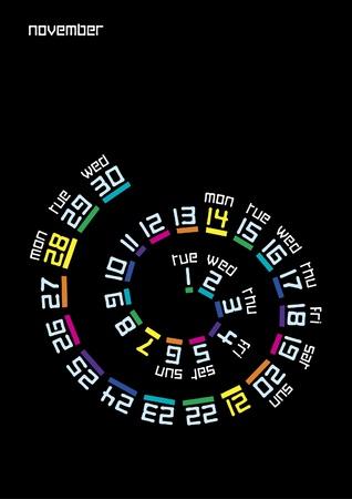 Spiral calendar, November 2011 Vector