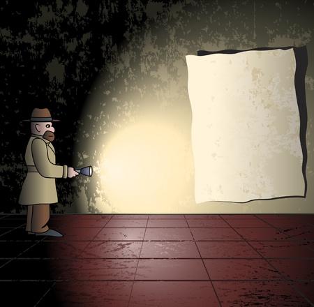 espionaje: Spy con la luz en un cuarto oscuro Vectores