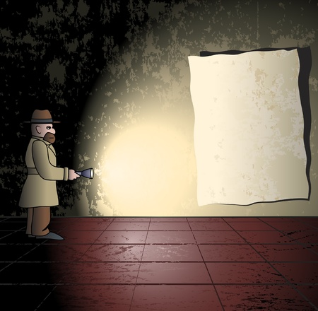 Spy with light in a dark room Vector