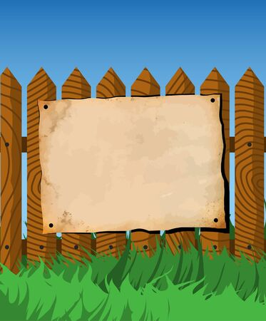 Aged paper on the fence Vector