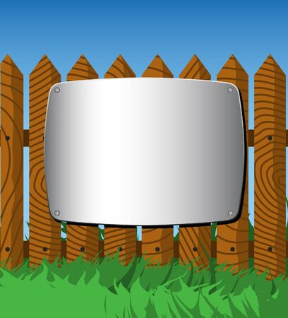 Metal screen on the fence Vector
