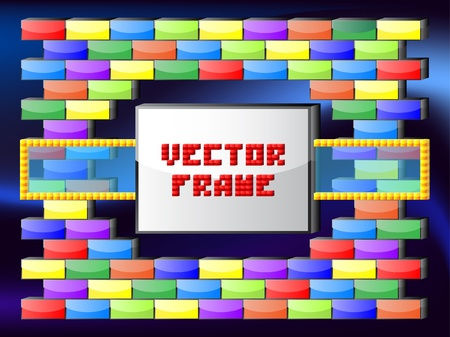 Glossy bricks frame Vector