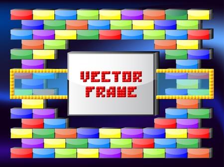 Glossy bricks frame Stock Vector - 10698708