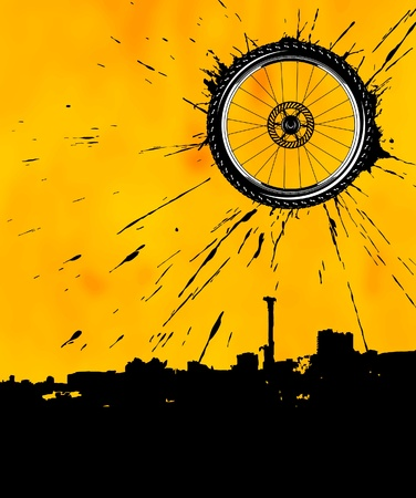 dirt bike: Bike wheel over the city Illustration
