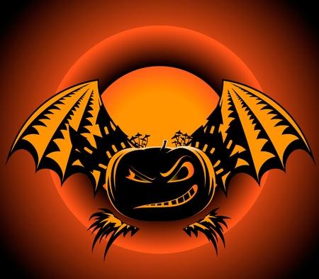 pumpkin face: Halloween pumpkin label