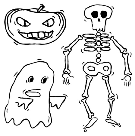 skeleton hand: Set of hand drawn halloween characters Illustration