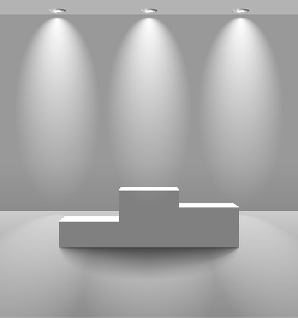 winners podium: Pedestal in a lightened room